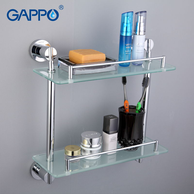 GAPPO Top Quality Gold Wall Mounted Bathroom Shelves Bathroom Glass Double shelves restroom shelf Hardware Accessories G1807-2<br>