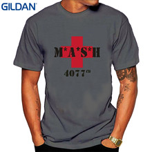 GILDAN Men 2017 Brand Clothing Tees Casual Men's Mash M.a.s.h. 4077th Red Cross T-shirt White(China)