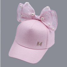 Luxury Big Bow Fashion Summer Kids Black White Pink Lace Floral ear Baseball Caps With Pearl Children Sun Hats Princess Mesh cap(China)
