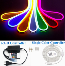 RGB LED Neon Strip Light fita 220V Dimmer Controller Flexible Ribbon Waterproof Decoration Rope 5m 20m Adapter Plug kit(China)