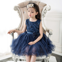Formal Girls Dress Birthday Wear Navy Blue Flower Girl Vestido for Wedding 2017 Girl Clothes 3 4 6 8 10 12Years Old RKF174007(China)