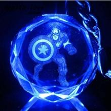 Marvel Comics Figures Captain America Figure Cartoon Anime Keychains Crystal Flashing Toys Gift for Child