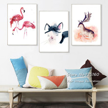 Minimalist Abstract Watercolor Painting Wall Art Canvas Animal Cat Decorative Pictures for Living Room Home Decor Panel No Frame