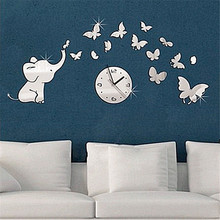 Zero 2017 Elephants play Butterfly Sticker DIY Mirror Wall Clock Wall Sticker Home cheap Inexpensive Purchasing B777(China)