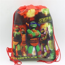 Ninja Turtle Non-Woven Fabric Backpack 34*27cm Kids Favors Birthday Party Decoration Drawstring Gift Bags Baby Shower Supplies