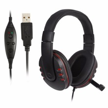 Handsfree Mic Headset Leather USB Wired Stereo Micphone Headphone Gaming Earphones for Sony PS3 PS4 PC Game Laptop Black NEW(China)