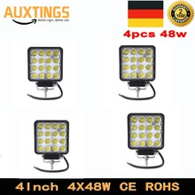 DE Stock Free Tax 4Pcs 4Inch 48W 12V 24V LED Work Light Spot/Flood Square LED Lamp for Offroad 4WD Trailer Motorcycle Car Truck