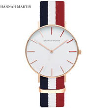 hannah martin men sports Quartz wristwatches fashion casual male clock mens top brand luxury nylon canvas white blue hm Watches