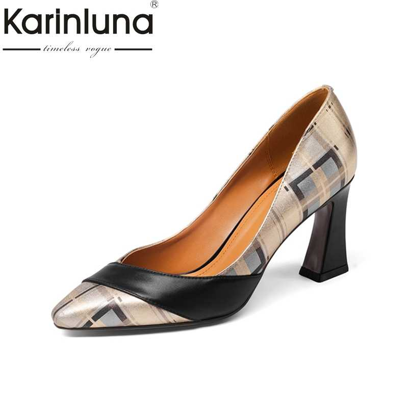 Karinluna Genuine Leather Large Size 33-43 Square High Heels Shoes Woman  Black Slip On 5373964d0fea