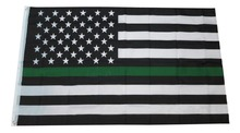 free shipping green Line usa Police Flags, 90*150cm Thin Blue Line USA Flag Black, White And Blue line Flag With Grommets(China)