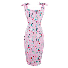2017 Hot Summer Women Bodycon Pink Spaghetti Strap Dress Square Collar Print Sexy Dress Sleeveless pretty bodycon 2017 spring(China)