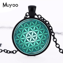 FLOWER OF LIFE Pendant Teal Green Aqua Spiritual Jewelry Inspirational Necklace Sacred Geometry Meditation Jewelry HZ1(China)
