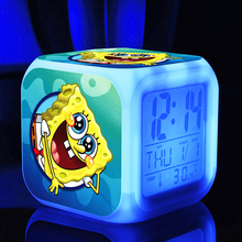 sponge bob New LED 7 Colors Change Digital bob spongebob AlarmClocks Night Colorful Glowing toys