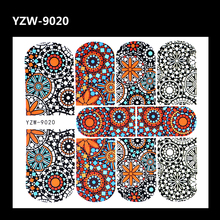 YZWLE 1 Sheet Full Cover Nail Tattoo Decal Fashion Colorful Pattern Water Transfer Sticker For Nails Art DIY Manicure Tool