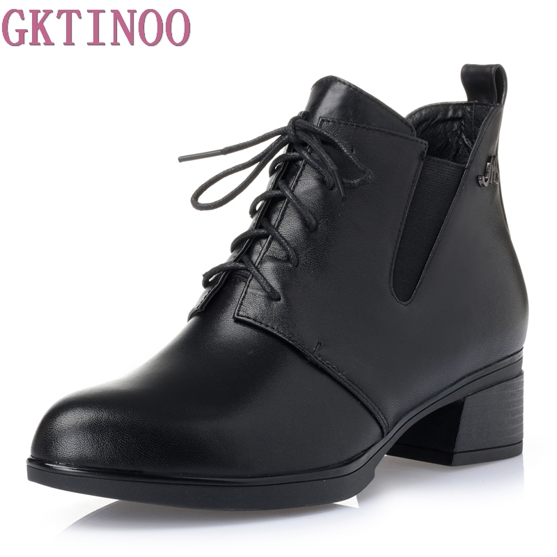 Women Boots Thick Heel Platform Shoes Lace Up Autumn Genuine Leather Sexy Boots For Women Riding Ankle Boots<br>