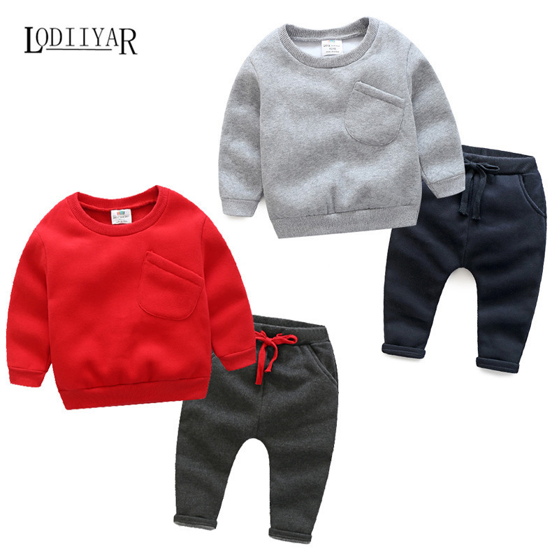 Baby Boys Clothing Sets Casual Solid Pullover Long Sleeve T-shirt + Pants Suits, Kids Boys Clothes Christmas Gifts Winter Autumn<br><br>Aliexpress