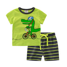 2017 Child BoysCartoon Crocodile Summer Clothes Sets Fashion Cool Baby Boy Cloth Suits Outerwear For Kids School Clothing Set(China)