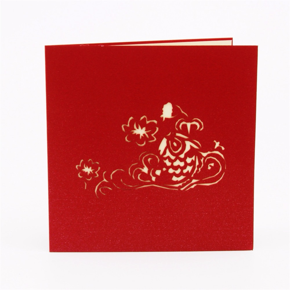 Chinese New Year Red Koi Fish 3d Pop Up Greeting Card Laser Cutting