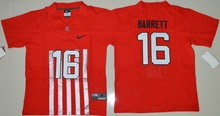 2016 NIKE Youth Ohio State Buckeyes J.T Barrett 16 College Alternate Elite Ice Hockey Jersey - Red Size S M L XL(China)