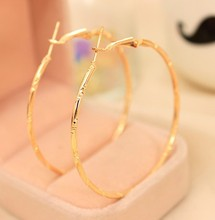 Fashion Girl Statement Earrings Jewelry Alloy Carved Silver Color And Gold Color Big Hoop Earrings For Women 2017 Jewelry(China)