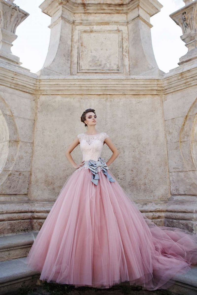 Vestido de Noiva Lace Up Tulle 2016 Vintage Lace Wedding Dress Pink Free Shipping New Long Train Ball Gown Wedding Dresses