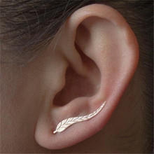 Ahmed Jewelry Fashion Girl Silver Alloy Ear Sweep Wrap Lady Ear Climber Leafs Ear Stud Earrings QLM Brincos Bijoux Popular(China)