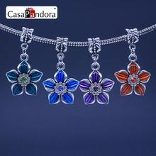 CasaPandora 4 Colors 925 Plated Five Leaf Clover Shape Pendant Fit Bracelet Charm DIY Enamel Bead Making Pingente Berloque