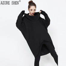 [AZURE SHEN] Winter Hooded Women Dress 2017 Fashion Casual Autumn Long Sleeve Asymmetrical Long Sleeve Pullover Vestidos KA369(China)