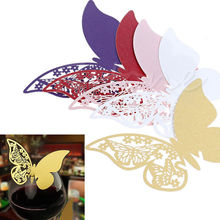 50 Butterfly Table Mark Wine Glass Name Place Card For Wedding Party Bar Decor A18684