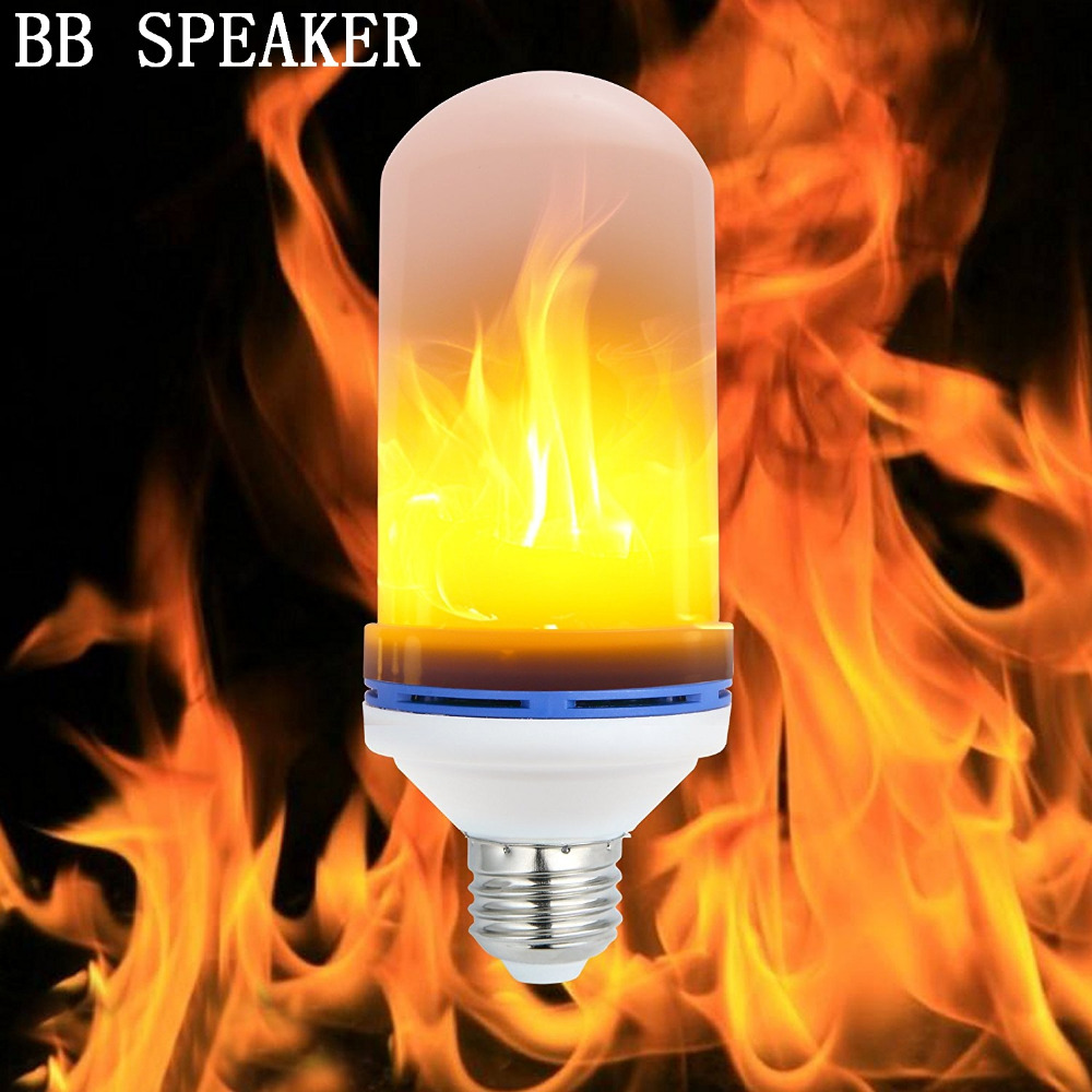 3Modes LED Flame Bulb Candelabra Fire Light Bulb 6W Flickering Light Bulbs