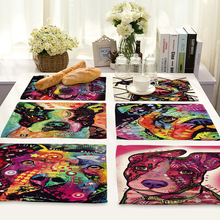 American Style Linen Cartoon Dog Printed Table Napkins Dinner Napkins for Wedding Tea Coffee Table Decor Western Mats