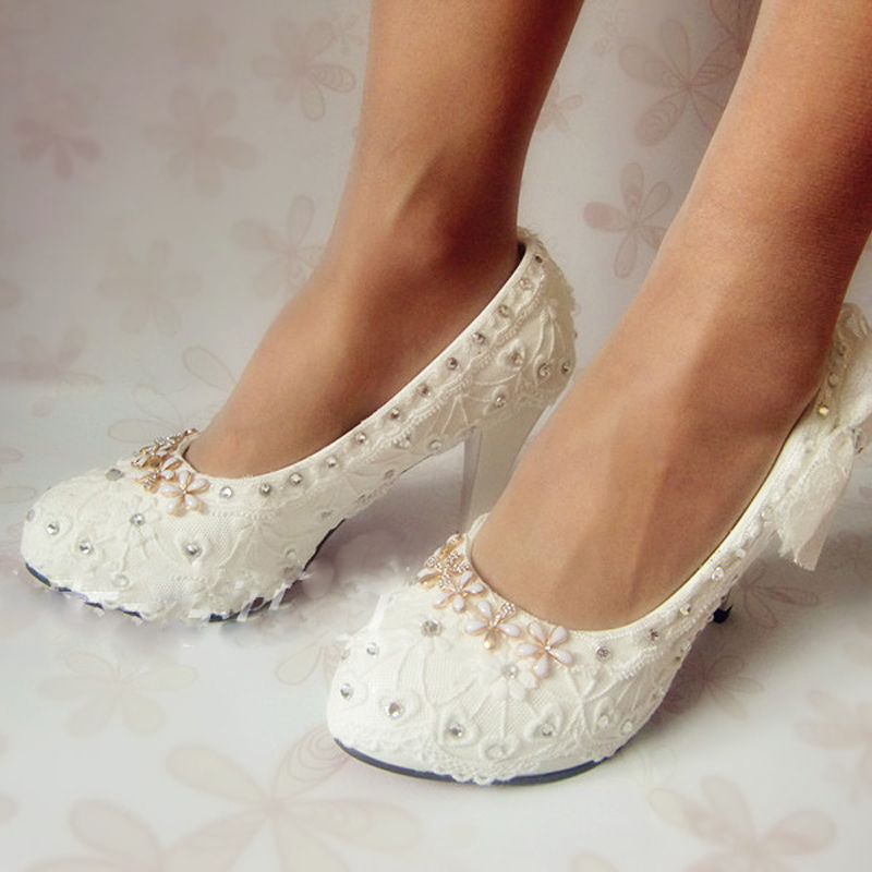 New Style White High Heel Rhinestone Wedding Shoes Bridesmaid Shoes Nice Design Bridal Shoes Spring Banquet Party Pumps<br><br>Aliexpress