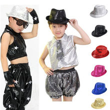 2015 new Brand fashion Child Kid Dance Party Club Fedora Bling Sequin Jazz Hat Trilby Stage Performance sun summer hat