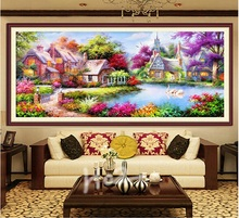 2016Free shipping diy 5d  diamond Painting mosaic Landscapes Garden lodge Cross Stitch Kits diamonds embroidery Home decoration