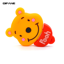 QIFANE Cartoon Creative Bear head U Disk 16G pen drive 4G 8G Animal shape USB Flash Drive 32GB 64G memory stick Free shipping