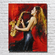 Big Size Hand Painted Canvas Art Women Play Music Oil Paintings Modern Decoration Wall Art Living Room Decor no Framed Canvas(China)