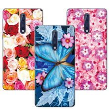 Floral Art Painted Flower Phone Cases For Nokia 8 5.3 inch Case Cover For Nokia 8 Soft Silicone For Nokia 8+Free Gift Pen(China)