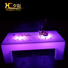 LED Bar Drinking Coffee Table Living Room Decoration Furniture Glass End Table Plastic Luminous Color Changing Desk