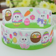 "Free shipping 7/8"" 22mm Easter rabbits&Eggs Printed grosgrain ribbon,hairbow DIY handmade clothing materials OEM 50yards Y0291"