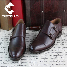 Sipriks Mens Goodyear Welted Leather Shoes Dark Brown Double Monk Strap Shoes For Men Two Toe Formal Shoes Office Suits Men Shoe