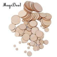 MagiDeal 1 Bag 3mm thick Blank Round Wooden Embellishments for Wedding DIY Crafts Embellishments Christmas Decoration(China)