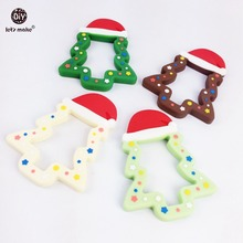 Let's make Baby Teether Silicone Christmas Tree 5pc Baby Accessory Montessori Toys Safe and Natural Food Grade Teether Baby Toys(China)