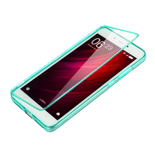 Xiaomi Redmi Note 4 Case Flip Clear Tpu Cover Silicone Transparent Capa Coque Red Rice Note4 Touch Screen Protector Phone Bag