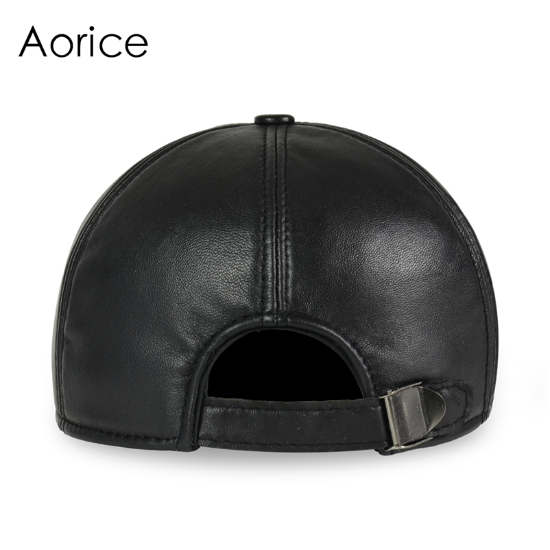 Deluxe Leather Adjustable Black Baseball Cap - Rear View