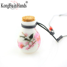 New Design lucky birds perfume Wishing bottle necklace for woman vintage pendant ceramic jewelry Sweater Chains free shipping(China)