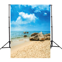 3x5ft Vinyl Photography Background For Studio Photo Props Cloth Sky Beach Sand Stones Photographic Backdrops 90x150cm(China)