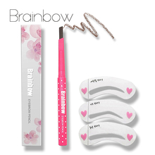 Brainbow Eyebrow Pencil Longlasting Waterproof Durable Automaric Eyebrow Liner+3 Eyebrow Shape Stencils Grooming Kit Makeup Tool(China)