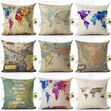 18 inches Vintage Style Cushion Cover world map Pattern Cotton Linen Pillow Cover Cushion Cover PillowCase Home Decor
