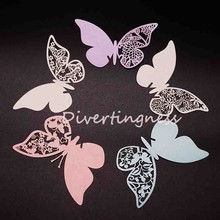 10pcs  Butterfly Place Name Card Wine Glass Card Laser Cut Paper Cup Card Table Mark Wedding Party Decoration