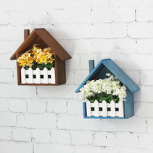 Creative  Wall Flower Box Wall Shelf Sundries Storage Basket Multi-use Storage Magazine Holder Wooden Fence flower decor